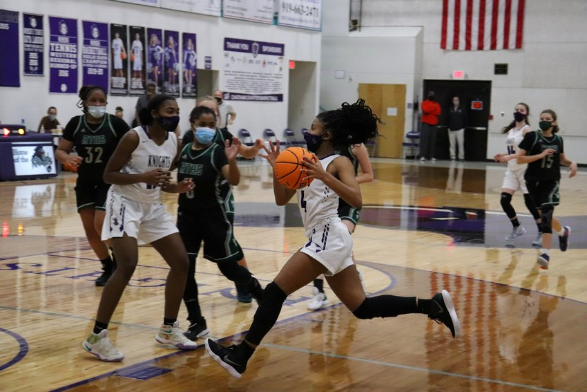 Chatham Charter sophomore guard Tamaya Walden (4) had 14 points and a number of fast-break layups in Tuesday's home win over Research Triangle.