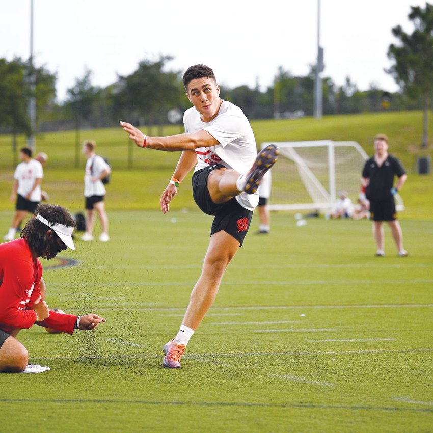 Northwood's Aidan Laros practices kicking field goals at Top 40 Camp in Florida on June 26, 2020. Laros' teammate, Jake Mann, helped get him into Top 40, the only kicking camp Laros attended.