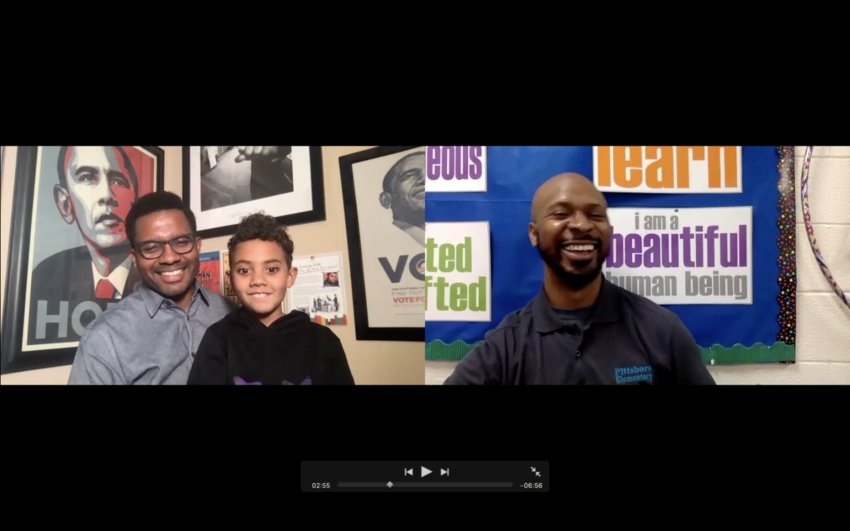 Orlando Dobbin Jr. (pictured right), school counselor at Pittsboro Elementary, makes celebratory videos during heritage months to highlight different cultures and experiences. This year for Black History Month, he spoke with families and students over Zoom about the importance of family.