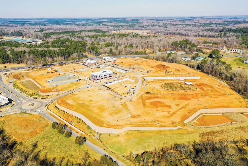 A bird's-eye view of a part of the 7,068-acre Chatham Park development north of downtown Pittsboro.