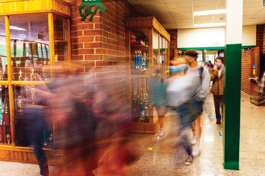 Students change classes in the hallway of Northwood High School last May. Chatham County Schools has increased its mental health services this year by increasing its in-school therapy contract with Renaissance Wellness Services and hiring two additional counselors and three social workers.
