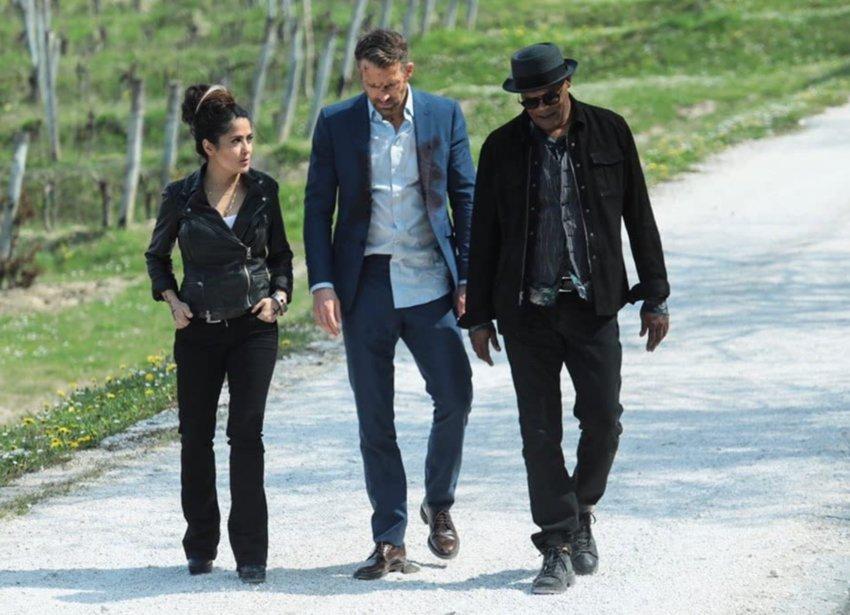 Salma Hayek, Ryan Reynolds and Samuel L. Jackson in 'The  Hitman's Wife's Bodyguard.'