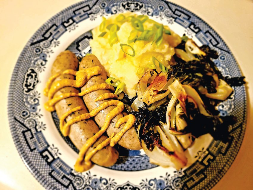 Bangers and mash — not a traditional American meal, but a tasty one nonetheless.