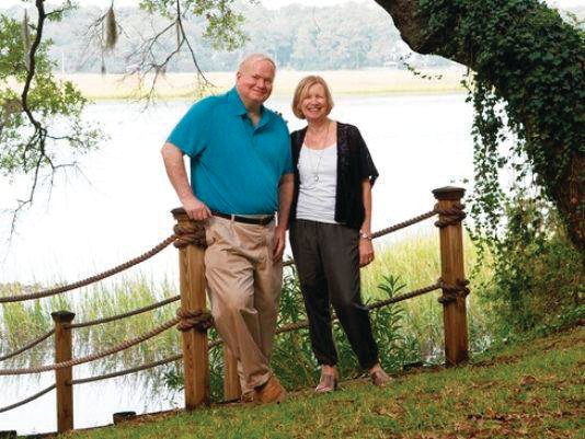 The late Pat Conroy and his wife, Cassandra King Conroy, outside their home in Beaufort, S.C.