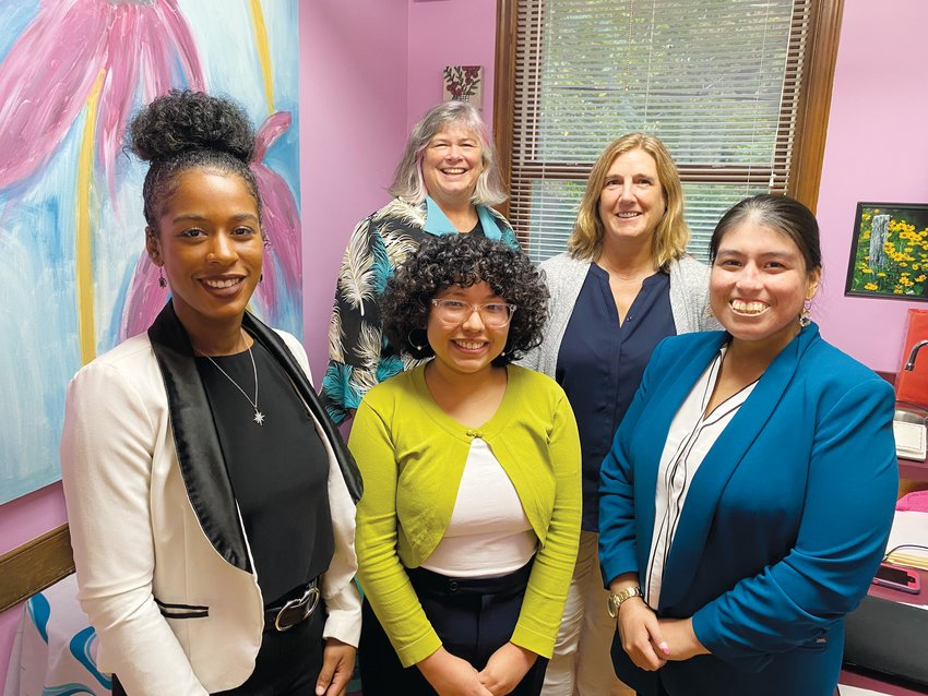 Chatham Literacy's Executive Director, Vicki Newell (in back), poses with staff members, from left, Kayla McCline, Joselyn Villasenor, D.J. Lynch and Leslie Ocampo.