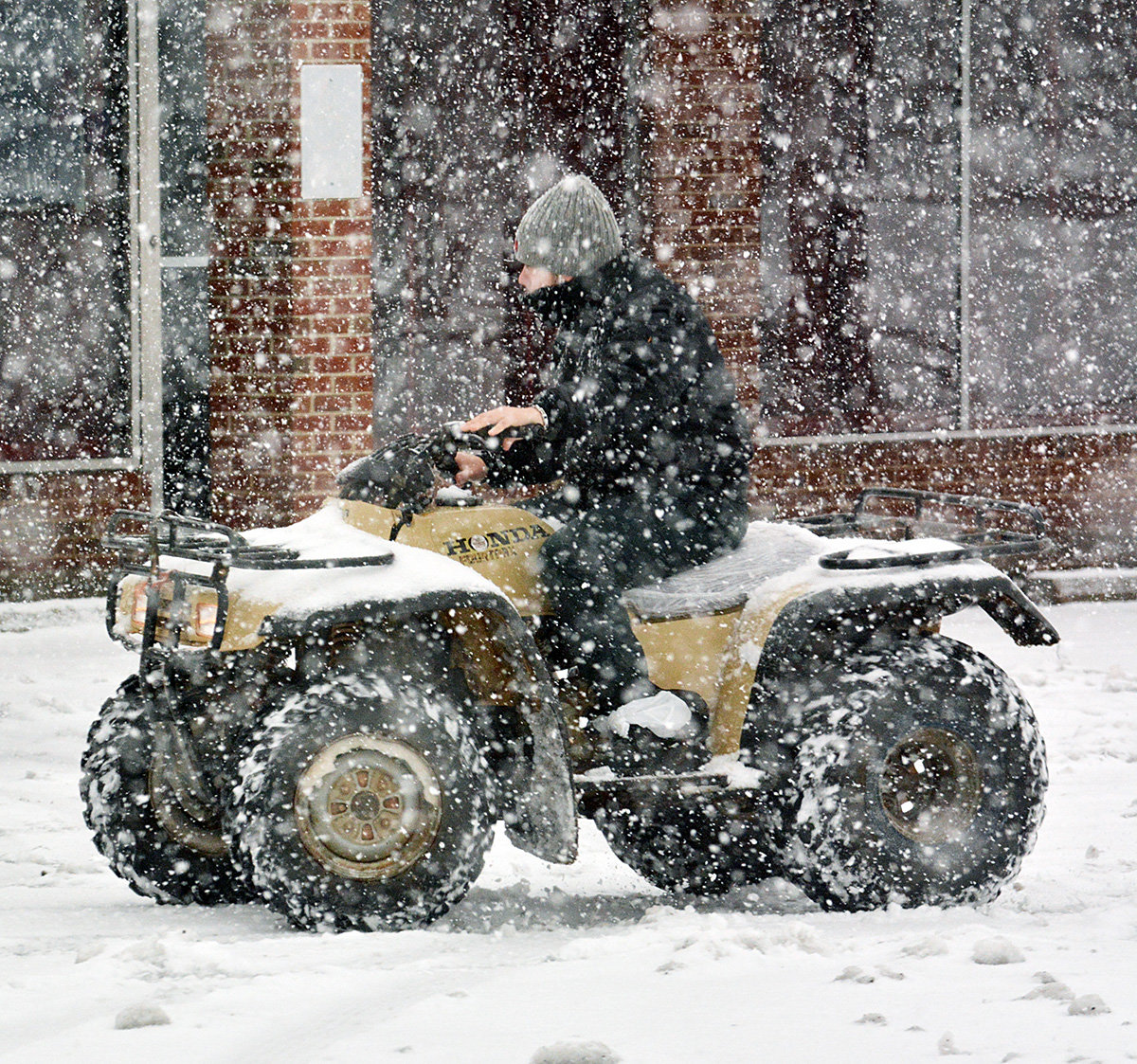 A four-wheeler was one mode of transportation that was used during Monday's snowstorm.