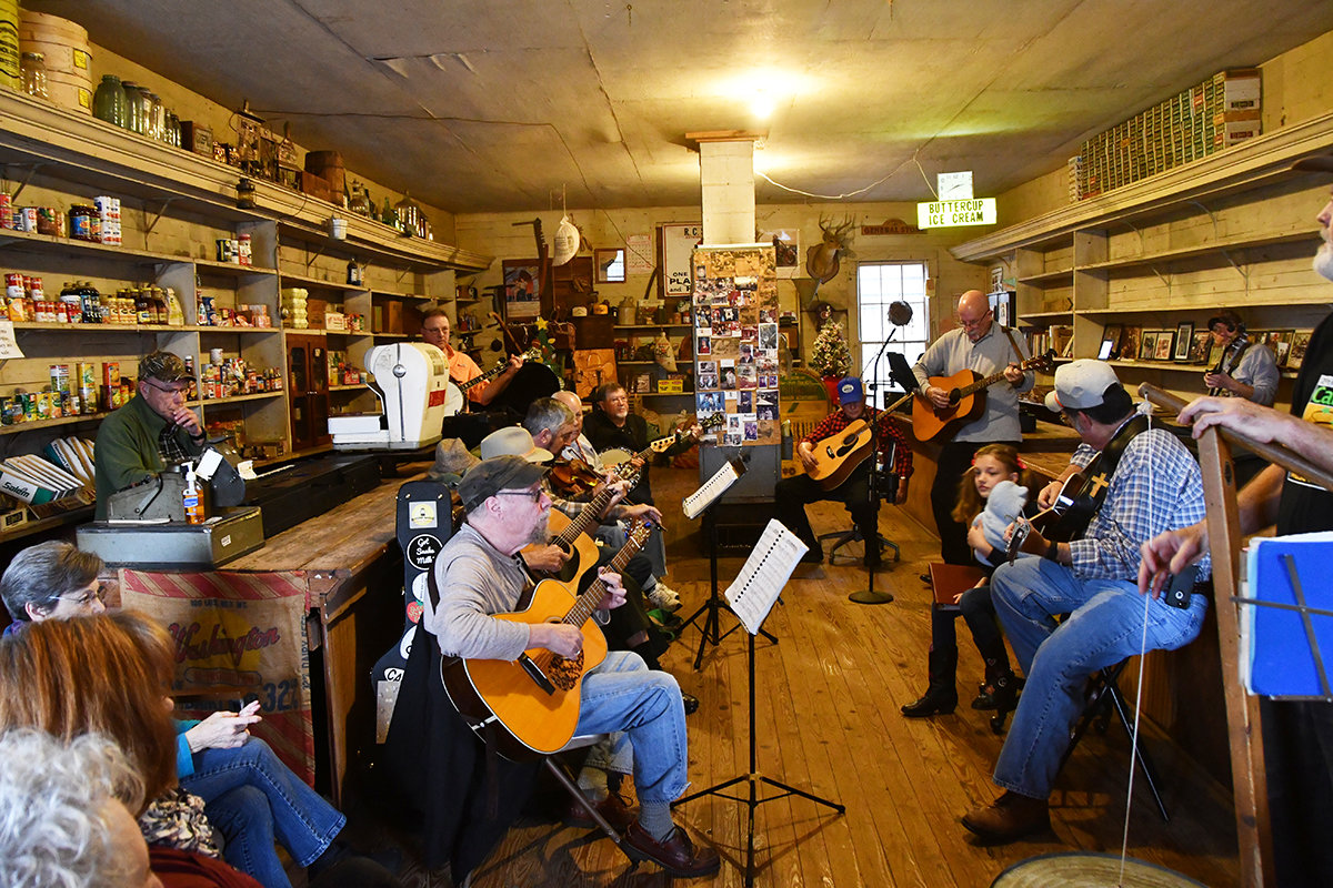 There's always a crowd, but plenty of room, to hear some fine musicians gather and play music. For a video on the music at Reno Sharpe Store click on the video button at the top of the page.
