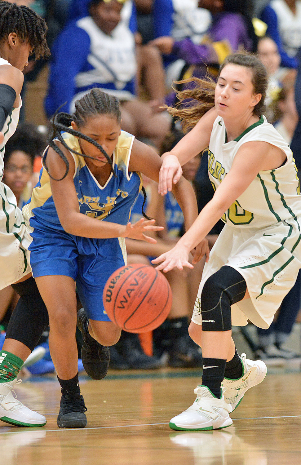 Ellia Wright moves past Wildcat Lilly Whitaker Friday night at Eastern Randolph. The Wildcats won the game.