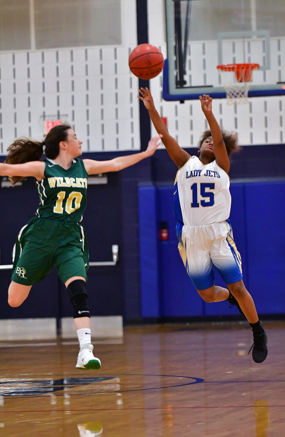 Lady Jet Ellia Wright lets loose with a last second shot at the end of the second quarter in their win over Eastern Randolph.