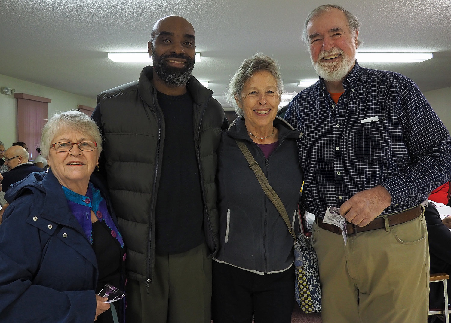 People from across the county came for the West Chatham NAACP Dr. Martin Luther King Jr. breakfast celebration. Pittsboro residents (from left) Irene Wells, Malcolm Henry, Meredith Dillon and Mike Dillon are all smiles at the event which focused on justice and the complexities of racism.