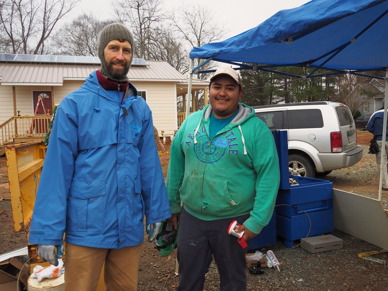Habitat for Humanity Project Manager Jeremy Coerper (left) with Site Supervisor Effrain Cortes (left) have been working on the homes on Toomer Loop for months.