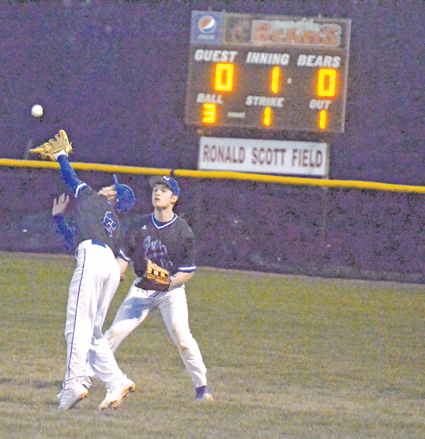 Jordan-Matthews misses the catch but wins the game In the bottom half of the first inning, Jordan-Matthews infielder Seth Moore misses the catch in right field at Chatham Central High School Thursday night as outfielder Landon Vickery looks on.  JM won the game 4-1.
