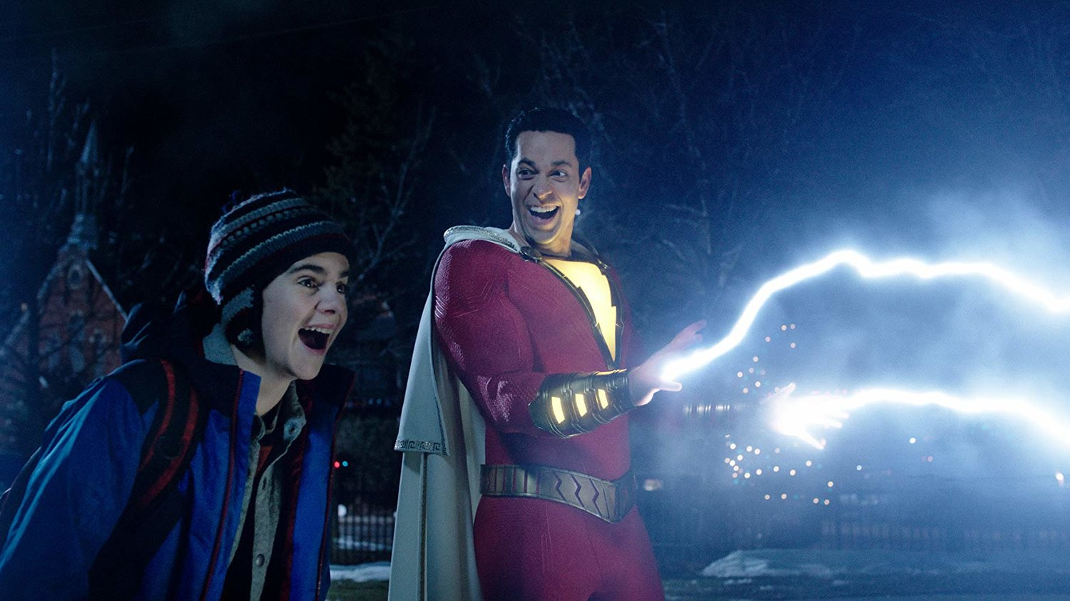 Zachary Levi and Jack Dylan Grazer star in Shazam!