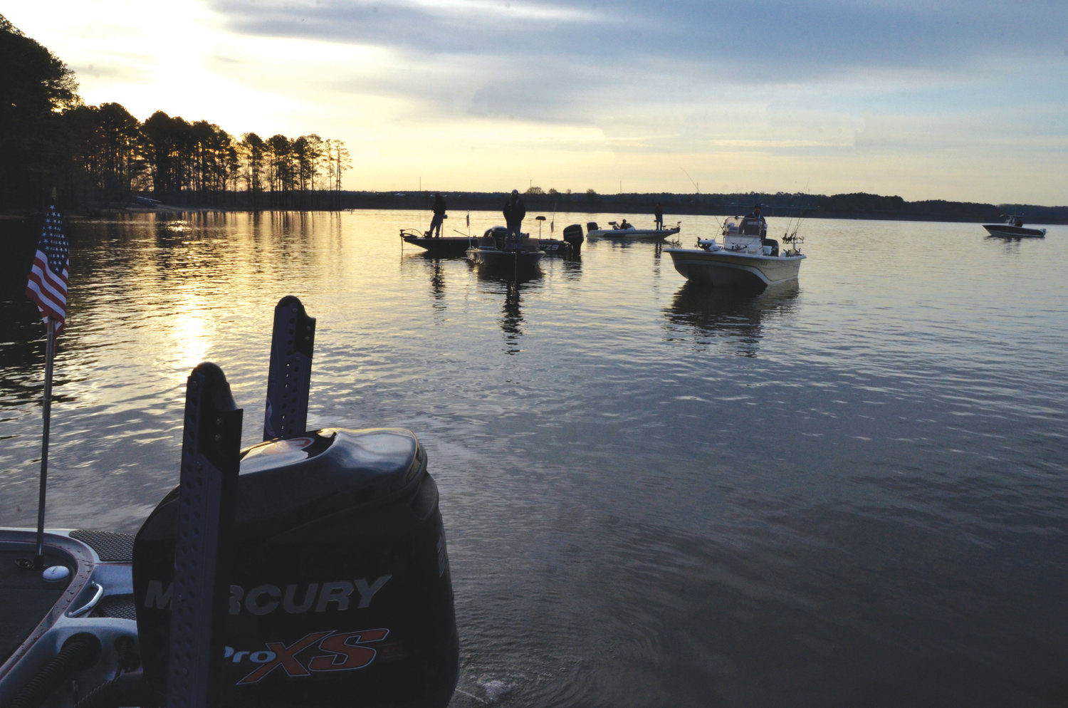 Fishermen make their way onto Jordan Lake as part in the annual Jordan Lake Top Shelf Fishin' Festival, sponsored by Operation North State last Thursday. The festival is an event for disabled veterans and others who have served in the armed forces.