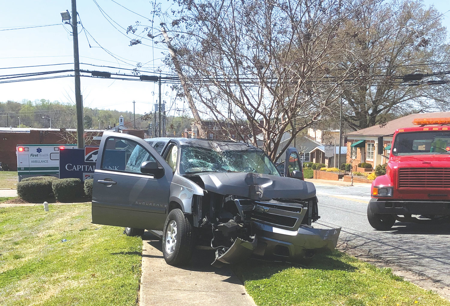 A accident last week forced the closure of Raleigh Street temporarily. A Chevrolet, after being struck, caught air and struck a utility pole, snapping it into pieces.