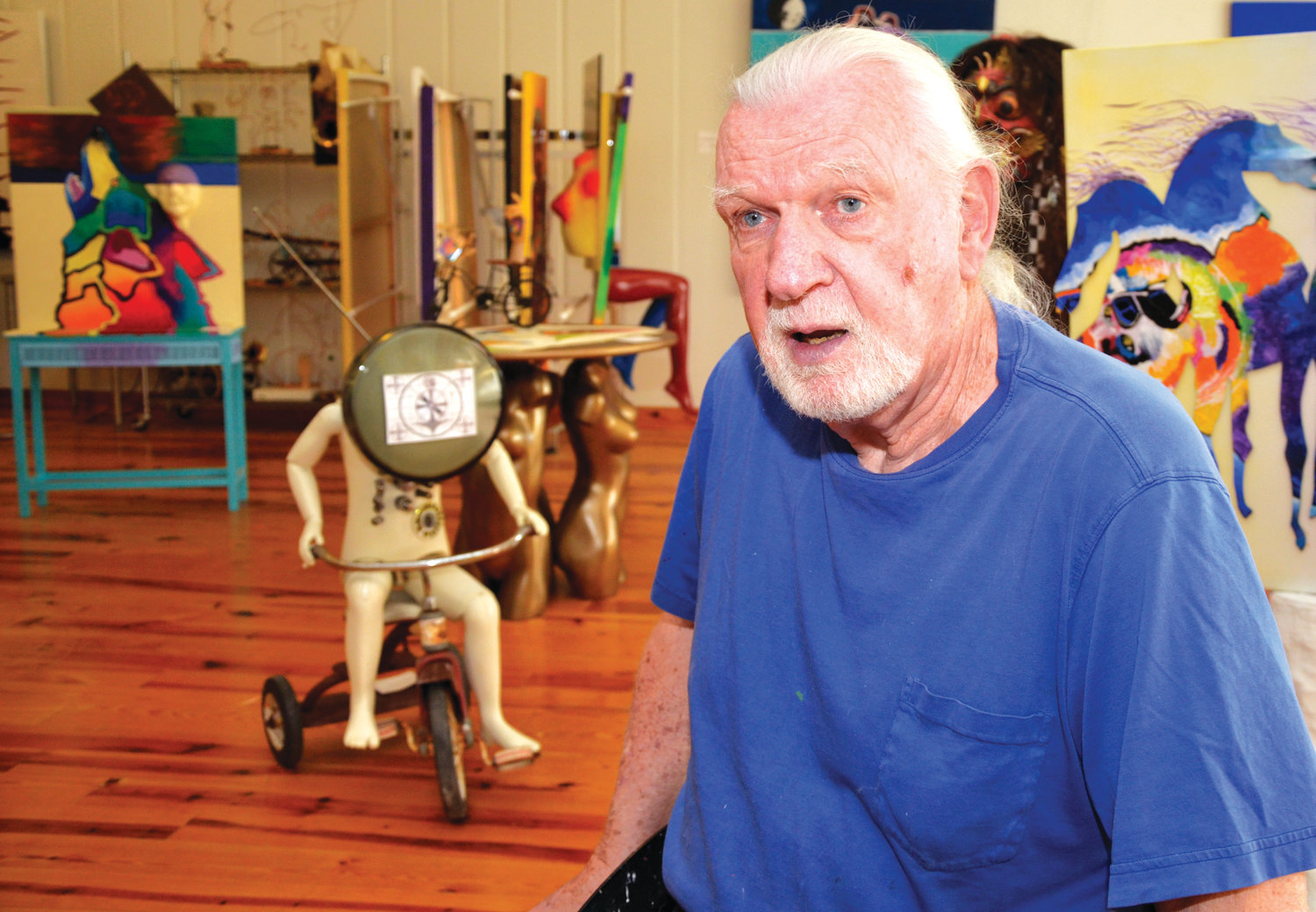 He is surrounded by the creations that he has made, but Roger Person doesn't continually tread old ground artistically. He creates new possibilities with the items that he finds or have been brought to him.
