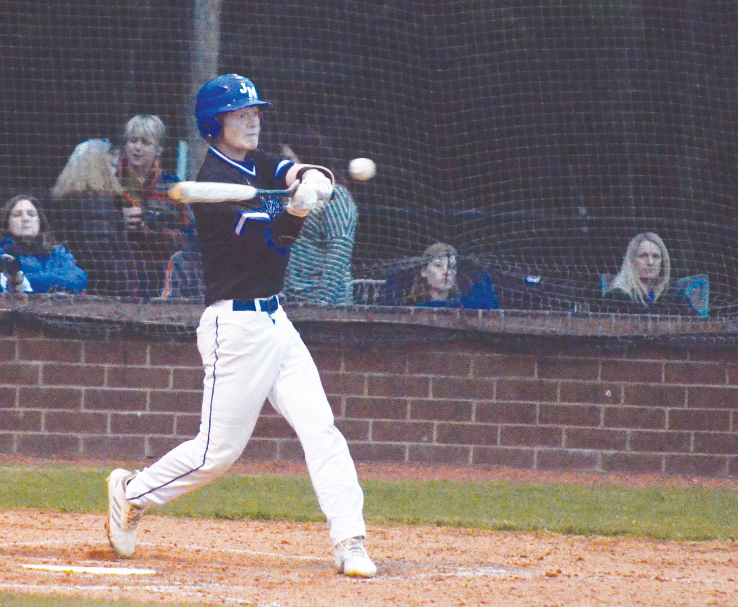 Jordan Matthews Christopher Morgan takes a swing in recent high school action. Morgan and the Jets rolled past Union Pines 12-1 in Cameron on Thursday.