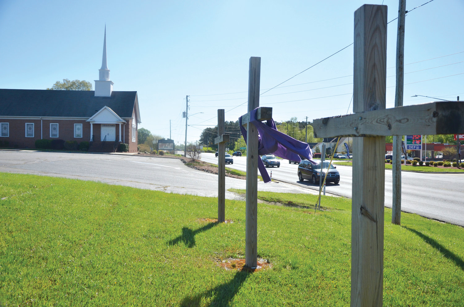 The three crosses on the grounds of Love Creek Baptist Church represent the crucifixion of Jesus. The Easter celebration is one of the most important in the Christian faith, celebrating the resurrection of Christ after his death on the cross.