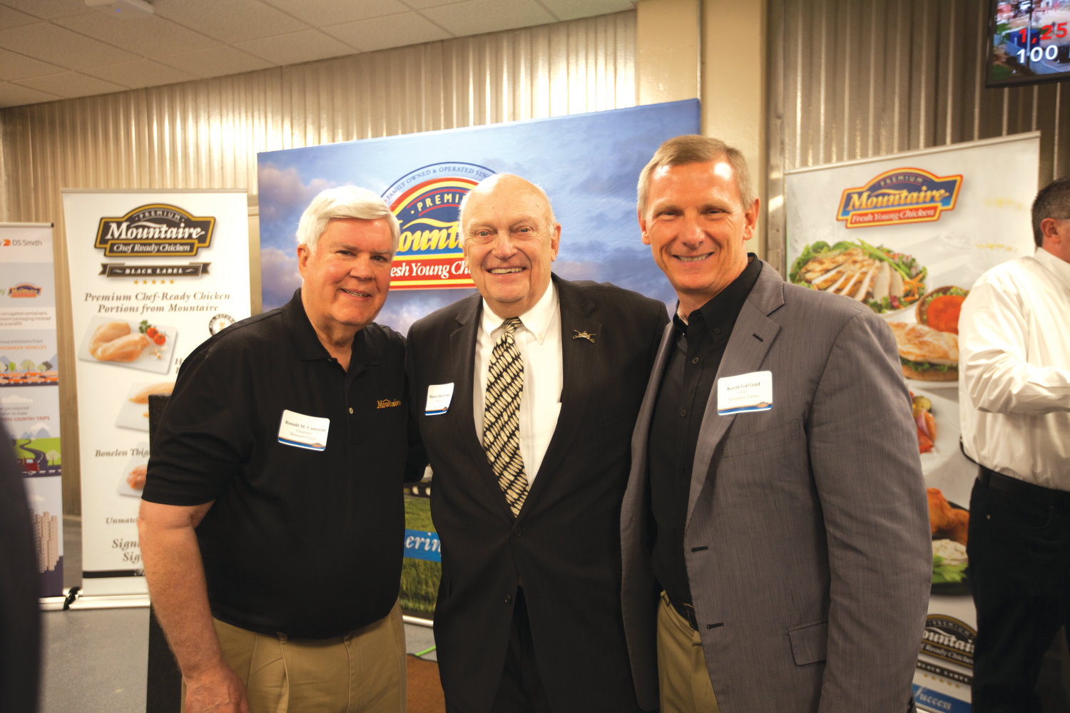 Chairman of Mountaire Farms Ronnie Cameron, left, with Siler City Mayor John Grimes and Mountaire Farms CEO Kevin Garland.