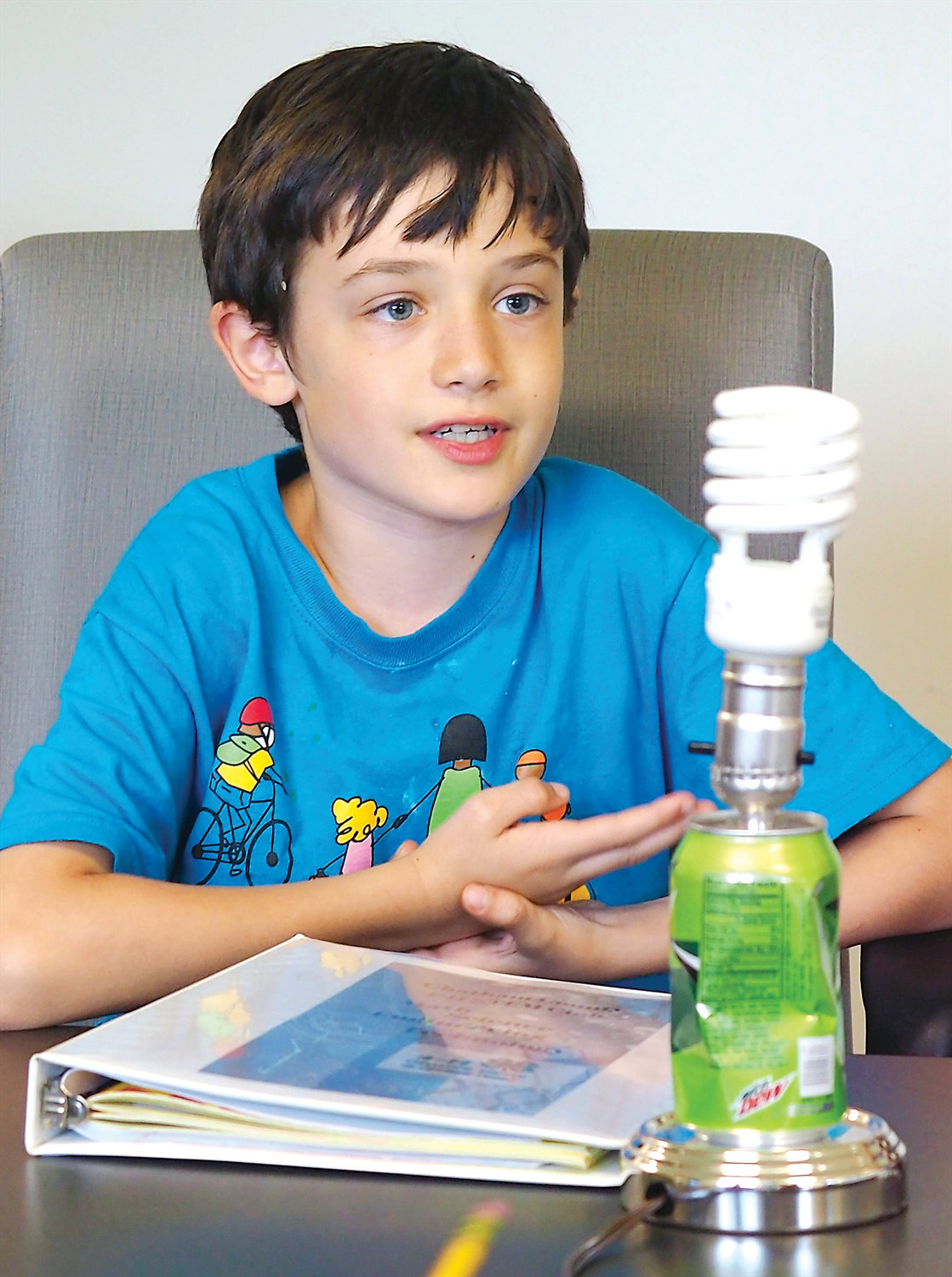 Finn Cobler, a 4th grader, said his favorite thing about STEM Club so far was building the lamp in front of him.