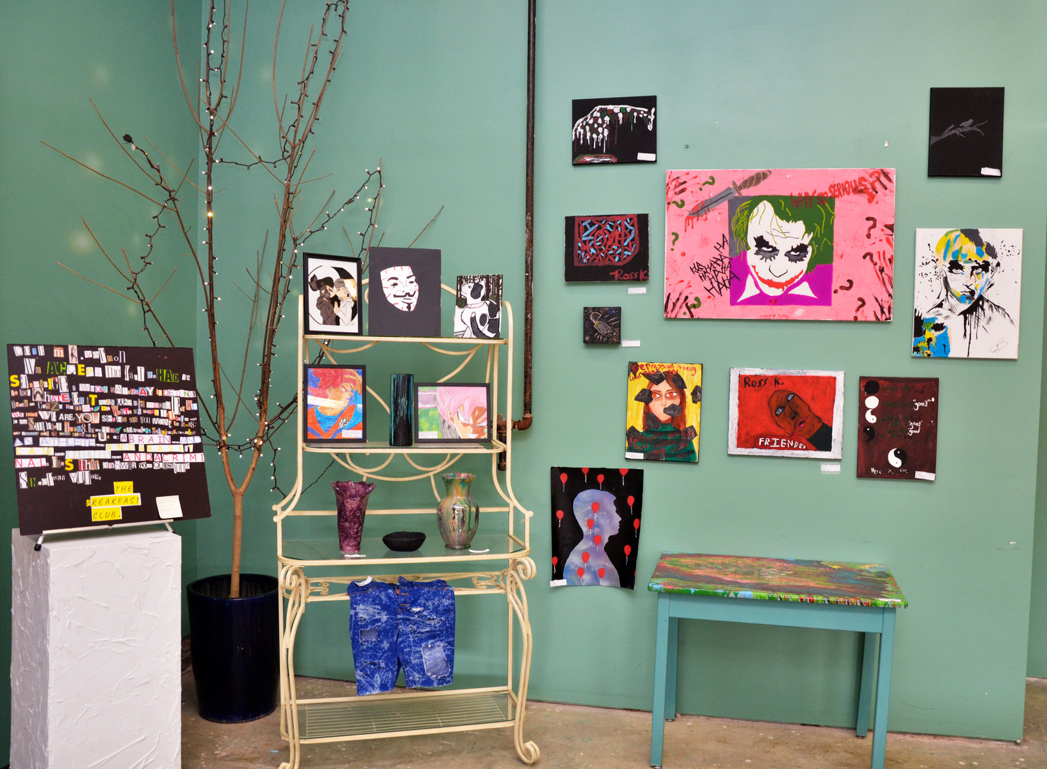 The Peppercorn in downtown Siler City offered part of its space for an art show by students at Jordan-Matthews High School.