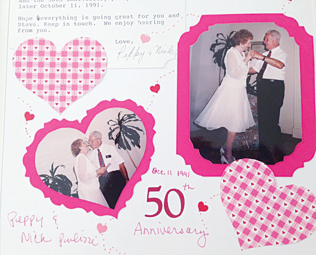 A scrapbook page from Jessica Bryan shows the love shared by her parents after 50 years of being together.