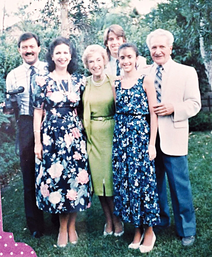 The Bryan family shares time with Jessica's mother and father in 1989.