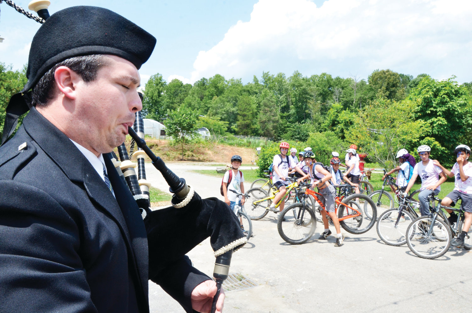 A bagpiper came out to send the campers on their way with some Scottish tunes Thursday. The group left the Lorax Lane location in Pittsboro and traveled down U.S. 64 to Jordan Lake.
