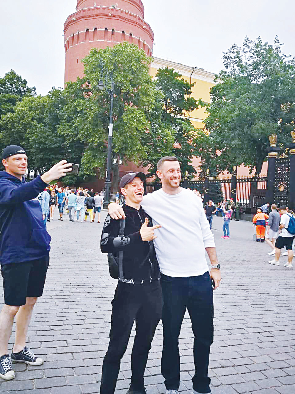 Enjoying the Port of Five Seas.Woods Fines (right) is all smiles with a teammate while enjoying some off time in the Red Square Disctrict of Moscow in Russia. Fines and his Kaunas County, Lituanaia teammates had some time to take in plenty of historical sites during the 2019 Federations Cup.