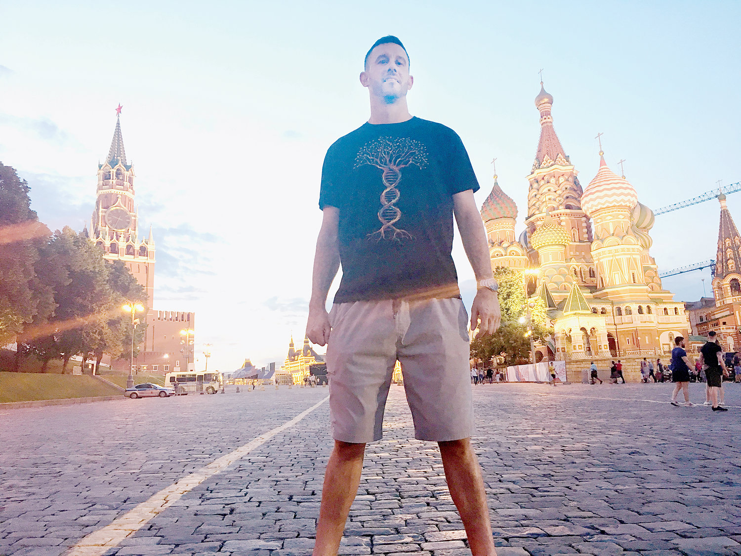 Woods Fines strikes a pose in front of the legendary St. Basil's Cathedral in Red Square in Moscow. Fines, a fomer Northwood star and Tampa Bay Devil Ray organization pitcher, was part of the team from Kaunas County, Lithuania. competing in the Confederation of European Baseball's 2019 Federations Cup Qualifier in Moscow.