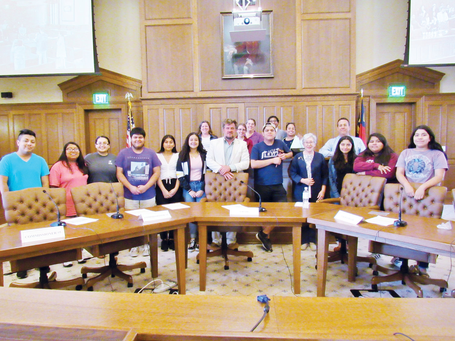 Members of the Orgullo Latinx Pride youth group with The Hispanic Liaison in Siler City participated July 10 in a mock meeting of the Chatham County Board of Commissioners with assistance from county staff and Commissioners Jim Crawford and Diana Hales.