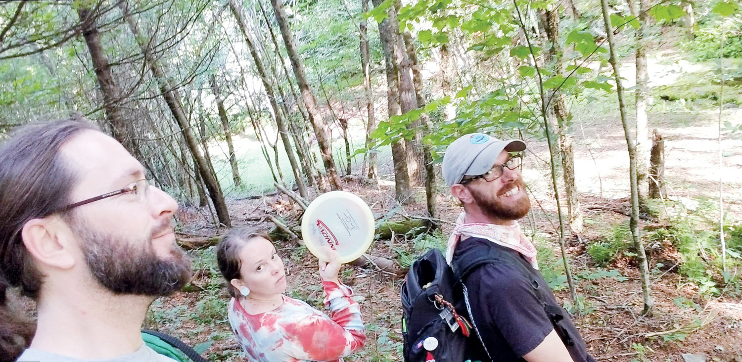 Disc golf is about fun and positive attitude. Here Detroit Drew, Garden Gnome, and Jefferson show some sass as they walk to their next hole.