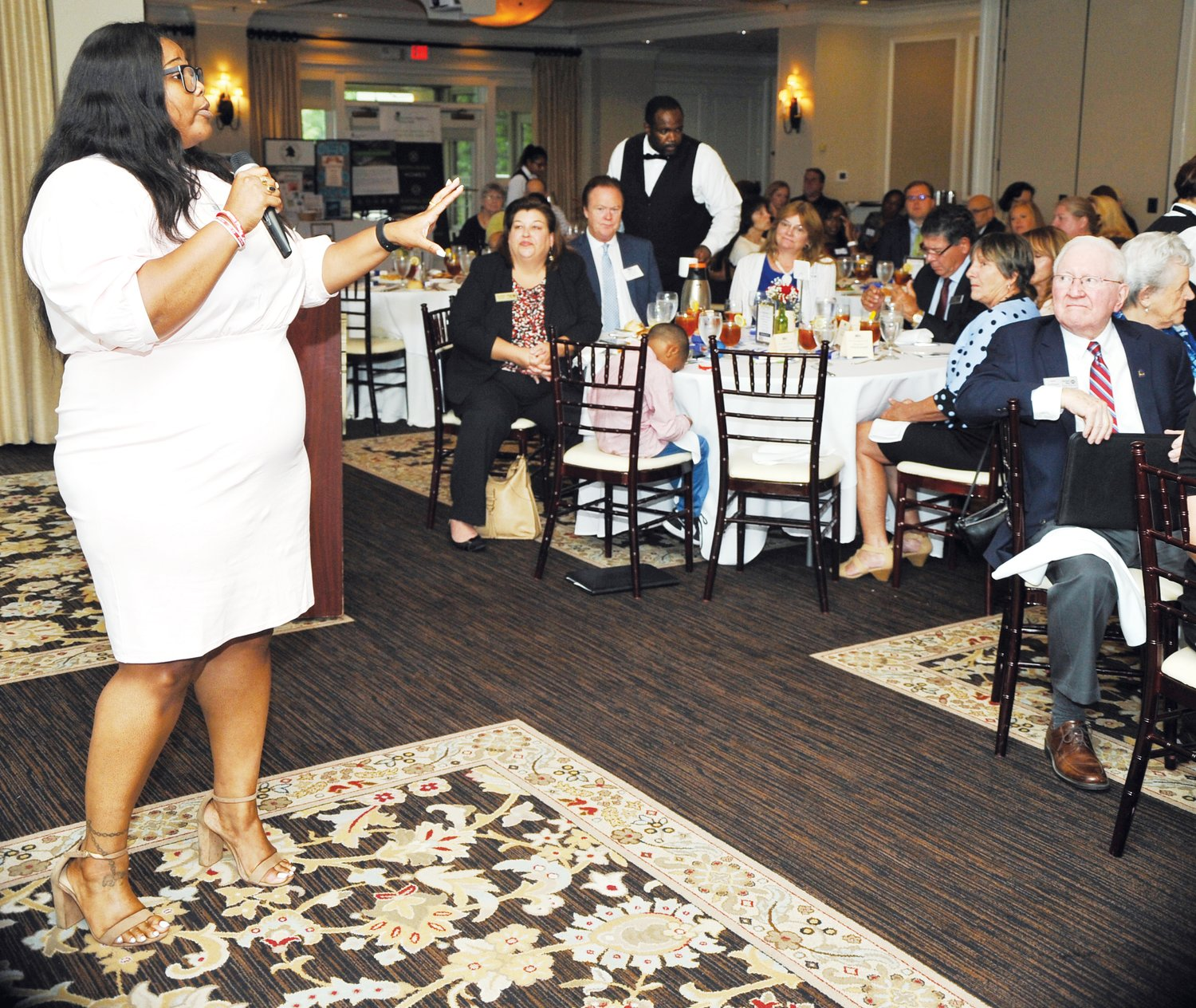 Georgina Dukes offered a window into the new NCCARE360 program for the audience at last Thursday's United Way of Chatham County campaign kickoff luncheon. Dukes gave a brief overview of the new health care concept and the benefits of connecting resources to the community in this system.