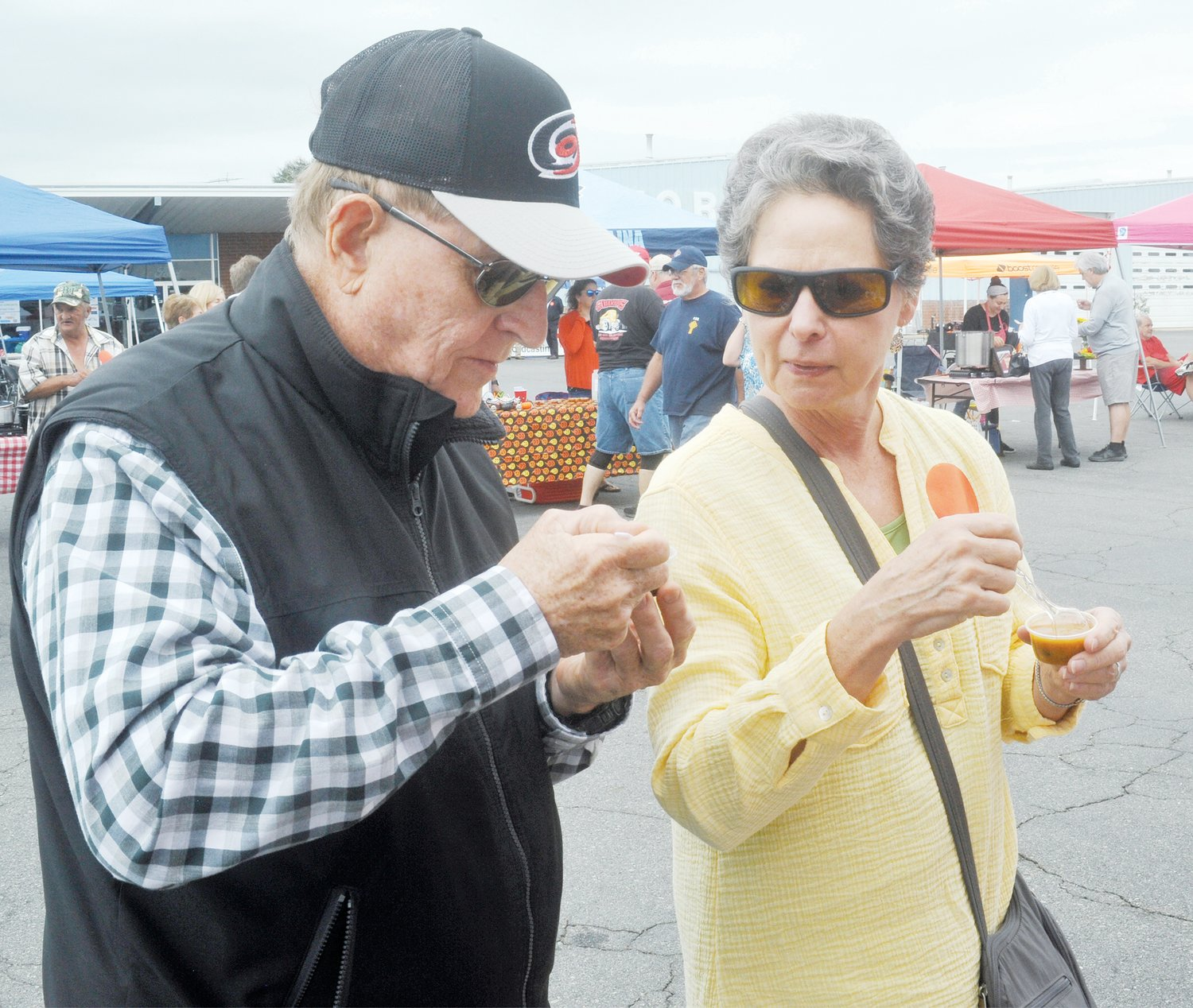 Gerald and Brenda Featherstone said it was their first time at the Chatham Chili Challenge. They said the chili reminded them of when they were growing up.
