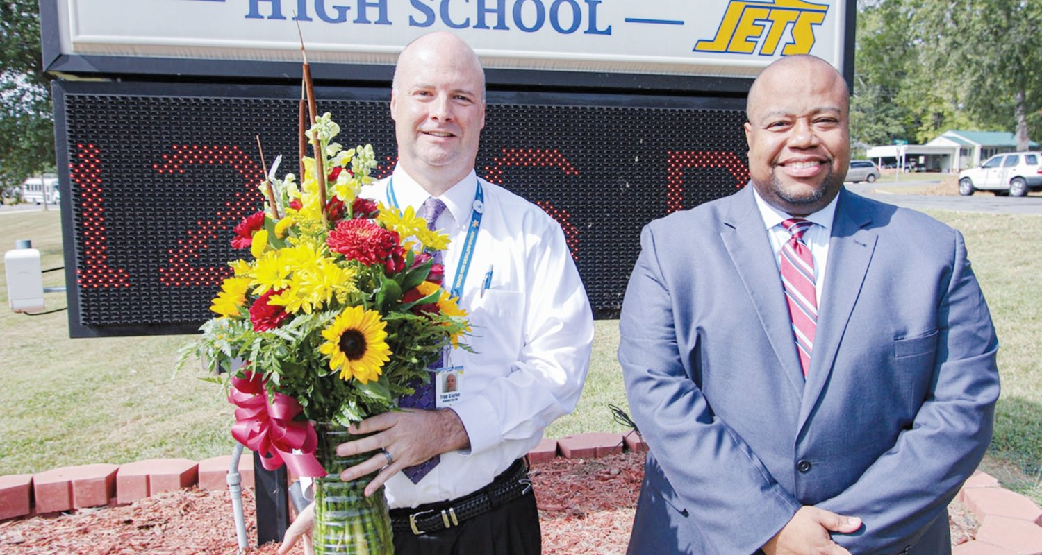 Jordan-Matthews High School Principal Tripp Crayton (left) pictured with Chatham County Schools former Superintendent Dr. Derrick D. Jordan, pre-pandemic. Crayton was announced as the first principal of Seaforth High School on Wednesday.