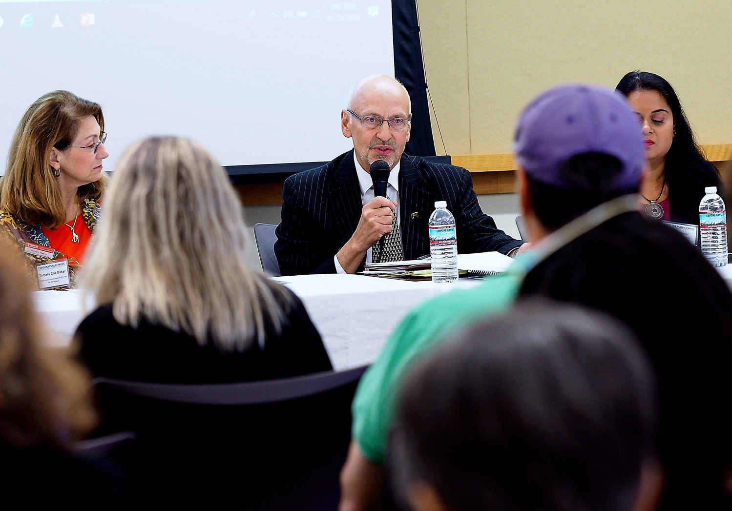 Dennis Streets, the executive director of Chatham County's Council on Aging, spoke Friday about the issues of loneliness and lack of income that many seniors face. Street was a panelist at the Faces of Hunger forum at the Chatham Community Library.