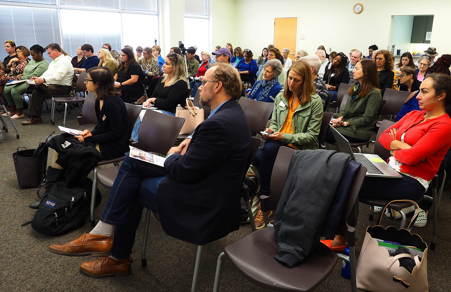 At Friday's hunger forum, sponsored by Carolina Public Press, Chatham residents filled the Chatham Community Library in Pittsboro to discuss ways to address food insecurity.