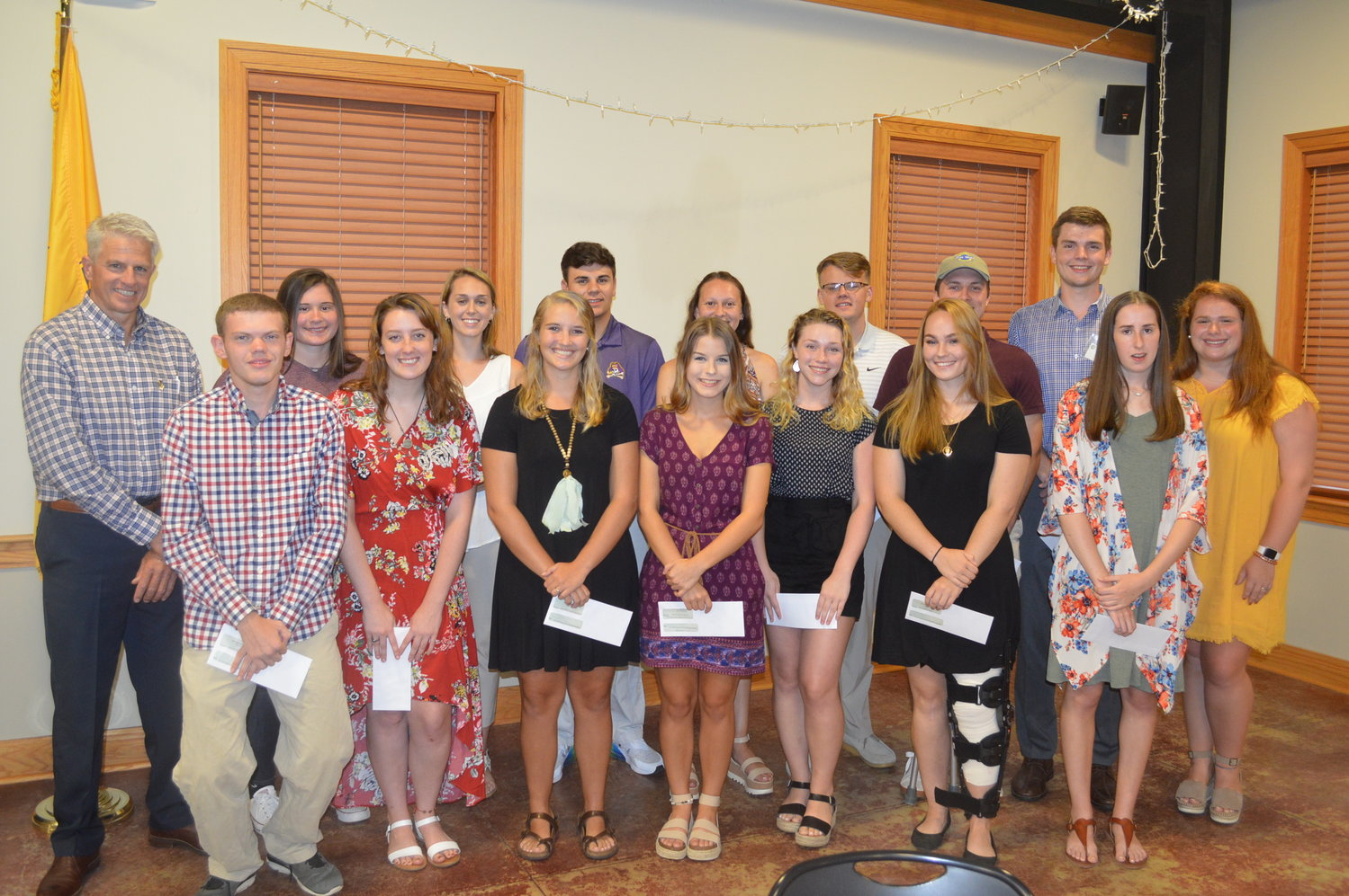 Silk Hope Ruritan Scholarship recipients — awarded more than $9,000 in scholarship funds — were recently honnored. Pictured above (from left) are Ruritan President Neill Lindley, .Aaron Partin, Jocelyn Mitchell,  Jennifer Henderson, Miranda Griffin, Emery Moore, .Forrest James, Mackenzie Clark, Savanna Cook, Aubree Wilson, Joseph Mitchell, .Sydney Suits, Kyle Dekaney, Lane Teague, Emily Pierce, Baylee Fox. Not picured are scholarship recipients McKinley Rogers, Emma Drumheller, Thomas Smith, Corrine Collison, Rocky Andrews.