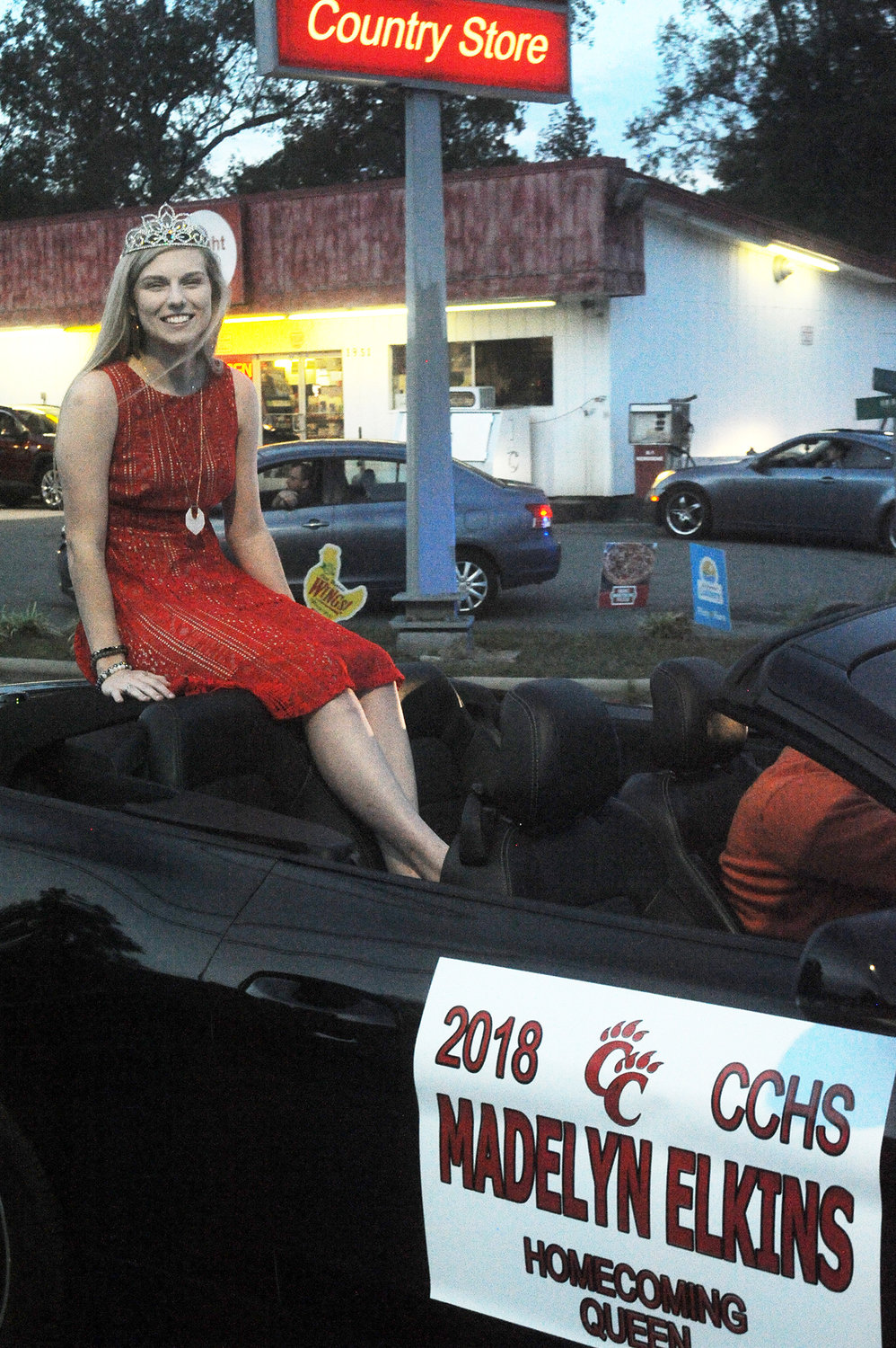 Chatham Central's 2018 Homecoming Queen, Madelyn Elkins, rides near the beginning of the 2019 Parade through Goldston last Monday evening.