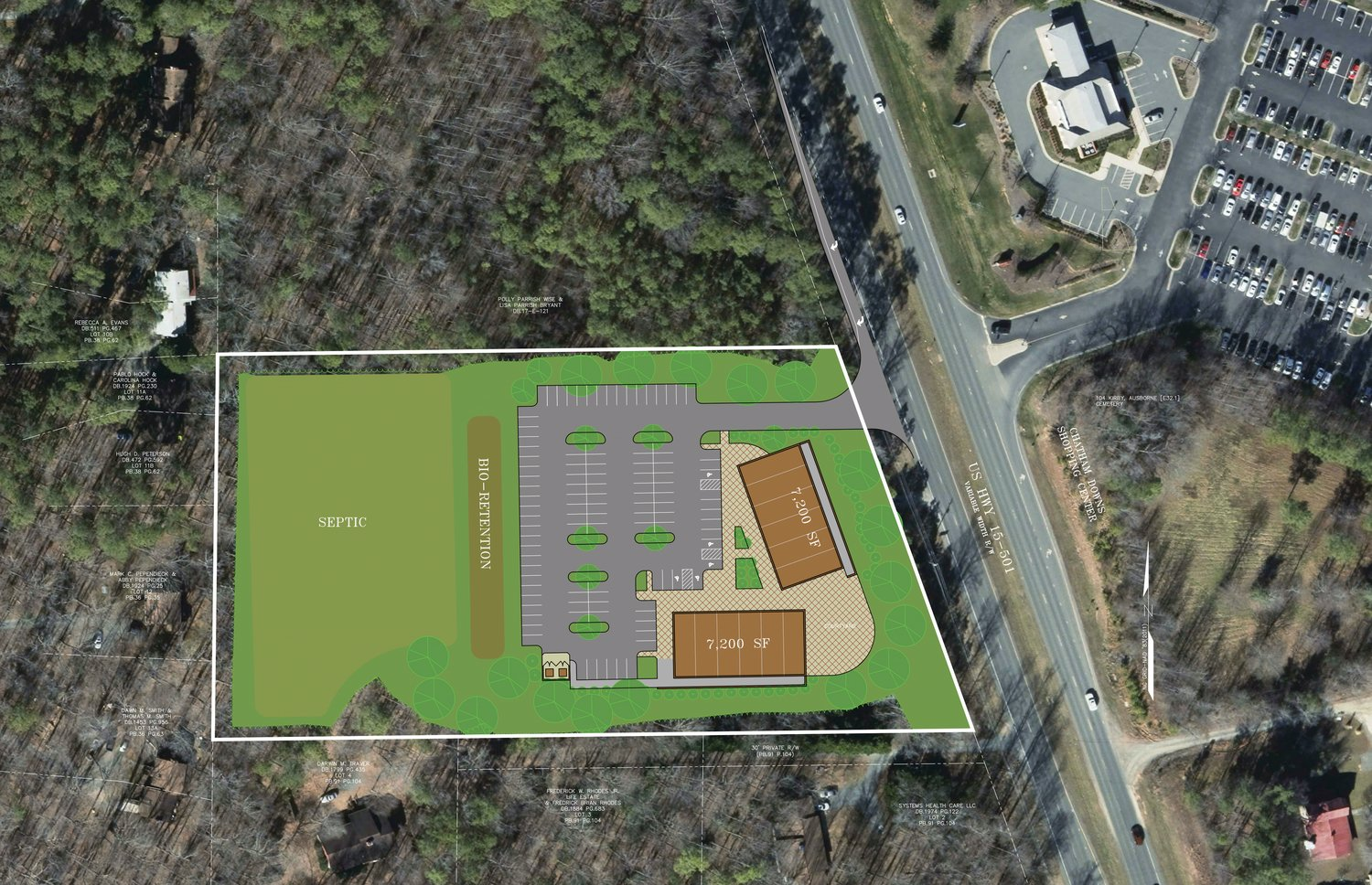 A birds-eye view rendering of the proposed 501 Landing, a shopping center currently awaiting rezoning of a parcel of land off of U.S. Highway 15-501 in the Chapel Hill part of Chatham County.