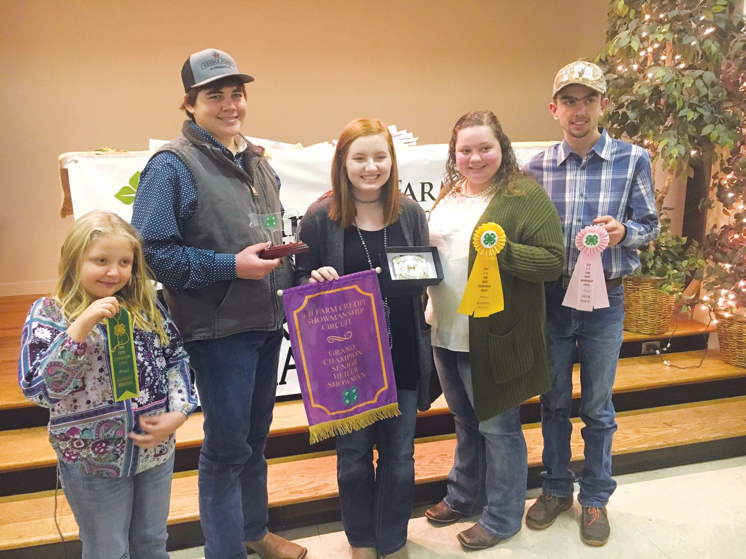 Chatham County winners at the 4-H Showmanship contest included, from left, Heidi Spainhour, Luke White, Lindsay Seitz, Katelyn Batchelor and Hunter Batchelor..