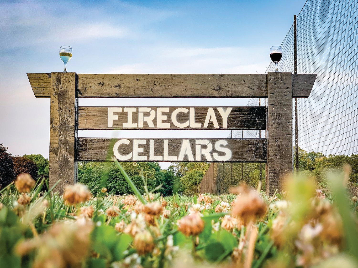 The signage for FireClay Cellars on Bowers Store Road, off U.S. Highway 64 between Siler City and Pittsboro.