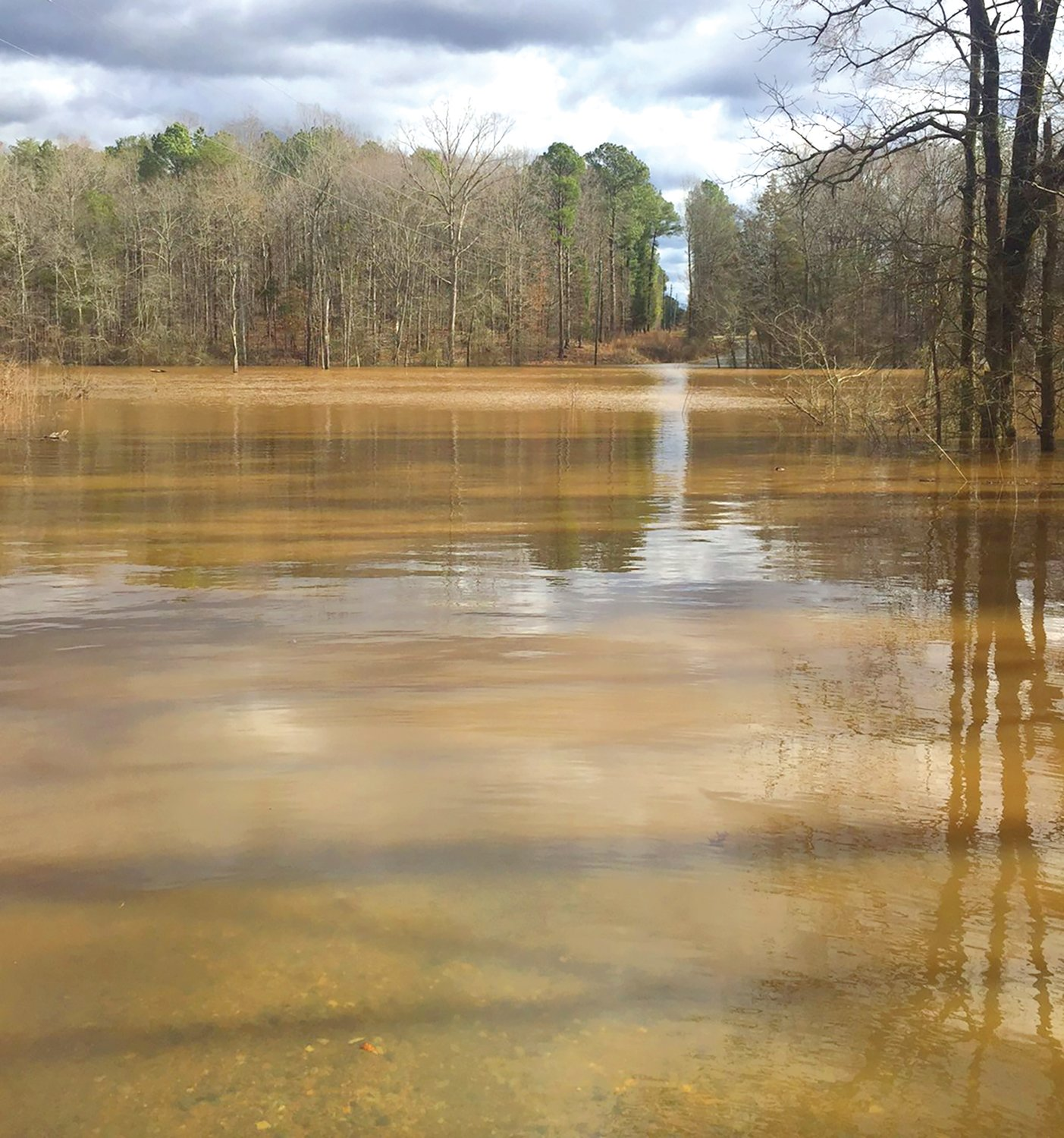 A portion of Alton King Road in Goldston was turned into a pond by flood waters from the Deep River over the weekend.
