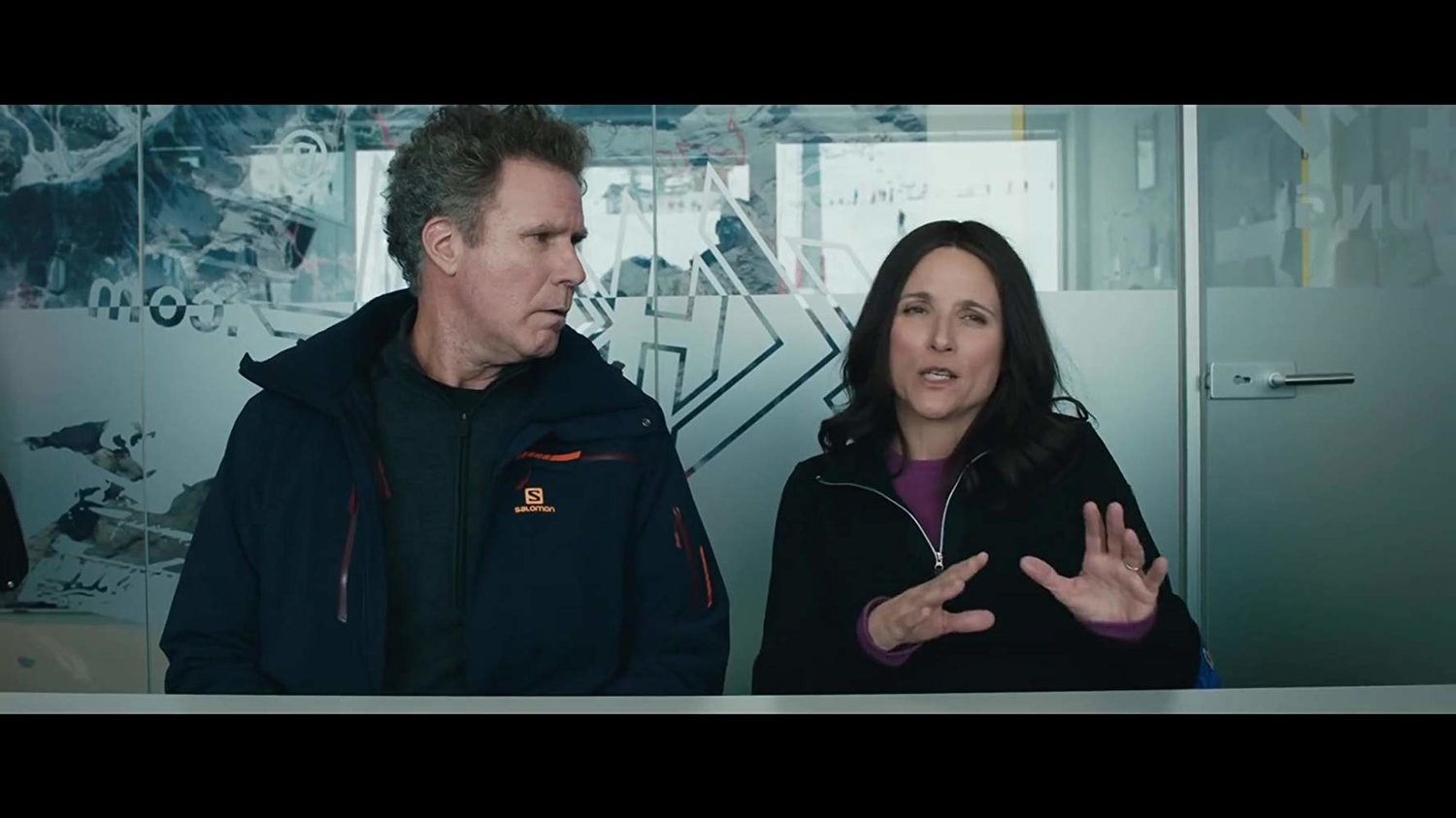 "Will Ferrell, left, and Julia Louis Dreyfuss play a bickering married couple in ""Downhill,"" a remake of the French-Swedish film ""Force Majeure."""