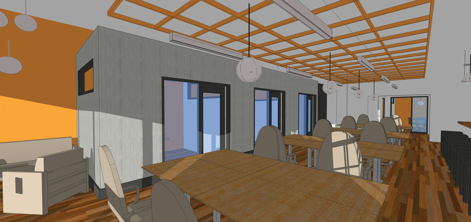 This architectural rendering of the future Perch Coworking space in downtown Pittsboro shows the layout of the facility. The desks shown in the open area will have privacy panels not shown in the rendering.