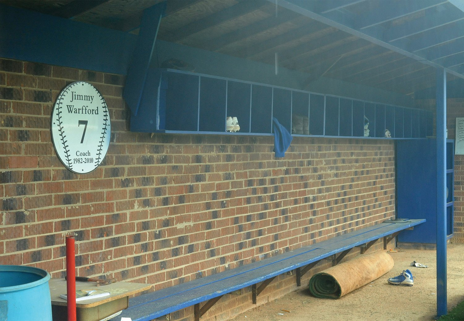 The evidence of a too-short season remains in the home team's dugout at Jordan-Matthews High School. Cleats, boots and jackets were left behind after the abrupt halt to all high school sports in the state after a season that lasted for only a few games.