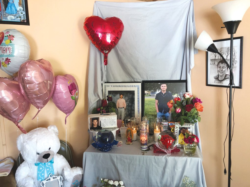 An altar — in Spanish, it's called an 'ofrenda' — put together by family members at Daniel Zagata-Hernandez' home in Siler City.