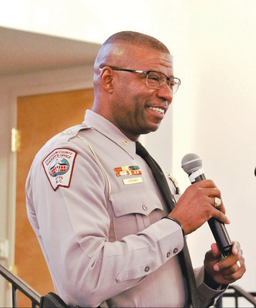Chatham County Deputy Chief Charles Gardner participated in the roundtable discussion, sharing his experiences growing up as an African-American in Ferguson, Missouri.