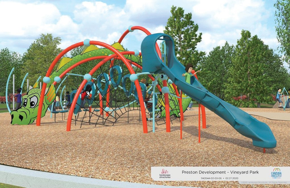 A rendering of the play area for older children to be constructed at the park at The Vineyard in Pittsboro.