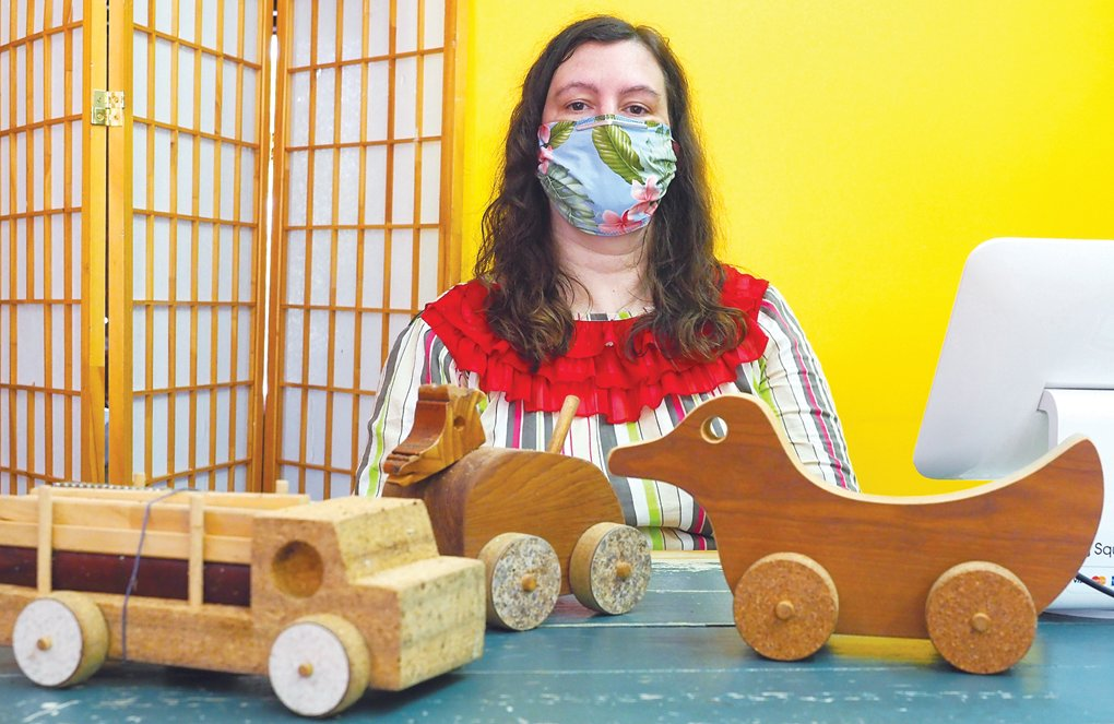 Samatha Birchard struck up a partnership with the late wood worker Ralph Evans, who created unique playthings like these for Pittsboro Toys.